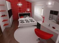 ตกแต่งห้องนอนสำหรับคนชอบสีแดง ดำ และขาว ร่วมสมัย